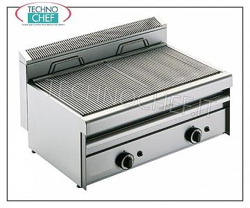 Version GRILL VAPOR TOP, DOUBLE MODULE - ARRIS - Série 550 GRILLE VAPOR GAS TOP version, MODULE DOUBLE avec commandes indépendantes avec 2 ZONES DE CUISSON 390x410 mm, complète avec grille, 13,8 kW de puissance calorifique, poids 50 kg, dimensions extérieures 800x550x315h mm