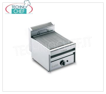 Version GRILL VAPOR GAS TOP, 1 module - ARRIS - Série 700 Version GRILL VAPOR GAS TOP, en acier inoxydable AISI 430, 1 MODULE avec 1 zone de cuisson de 390 x 550 mm, complète avec grille de barreaux, puissance thermique de 8,5 kw, poids 35 kg, dimensions extérieures de 420 x 700 x 360 h