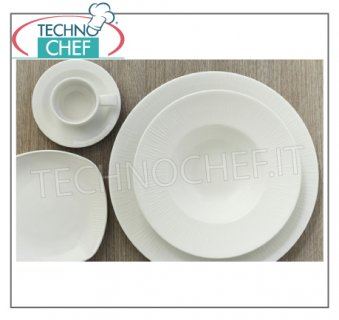 CHURCHiLL - Porcelaine pour restaurant PLATS, Collection Bambou Relief Blanc, Marque CHURCHiLL