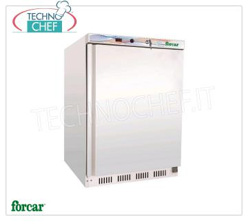 Forcar - 1 Door Fridge Cabinet, lt.130, Static, Temp. + 2 ° / + 8 ° C, Class A, model G-ER200 Armoire réfrigérée 1 porte, Professional, structure externe en tôle blanche, interne en ABS, lt.130, temp. + 2 ° / + 8 ° C, ÉCOLOGIQUE en CLASSE A, Gaz R600a, Statique avec ventilateur interne, V.230 / 1 , Kw.0,1, Poids 45 Kg, dim.mm.600x585x855h